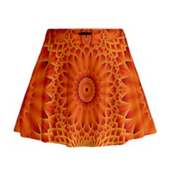 Lotus Fractal Flower Orange Yellow Mini Flare Skirt