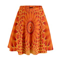 Lotus Fractal Flower Orange Yellow High Waist Skirt