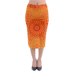 Lotus Fractal Flower Orange Yellow Midi Pencil Skirt