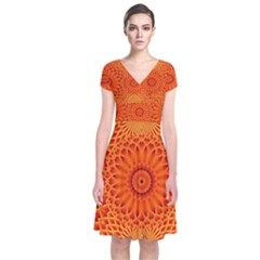 Lotus Fractal Flower Orange Yellow Short Sleeve Front Wrap Dress