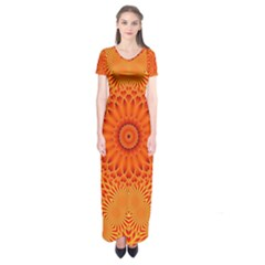 Lotus Fractal Flower Orange Yellow Short Sleeve Maxi Dress