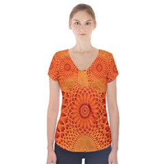 Lotus Fractal Flower Orange Yellow Short Sleeve Front Detail Top