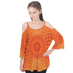 Lotus Fractal Flower Orange Yellow Flutter Tees