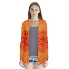 Lotus Fractal Flower Orange Yellow Drape Collar Cardigan