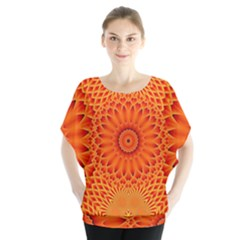 Lotus Fractal Flower Orange Yellow Blouse