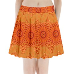 Lotus Fractal Flower Orange Yellow Pleated Mini Skirt