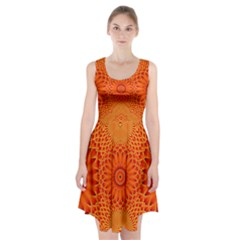 Lotus Fractal Flower Orange Yellow Racerback Midi Dress