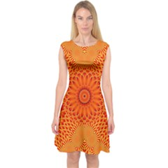 Lotus Fractal Flower Orange Yellow Capsleeve Midi Dress