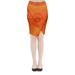 Lotus Fractal Flower Orange Yellow Midi Wrap Pencil Skirt