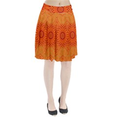 Lotus Fractal Flower Orange Yellow Pleated Skirt