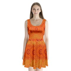 Lotus Fractal Flower Orange Yellow Split Back Mini Dress