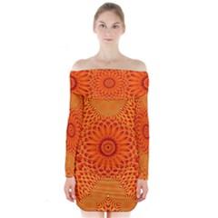 Lotus Fractal Flower Orange Yellow Long Sleeve Off Shoulder Dress