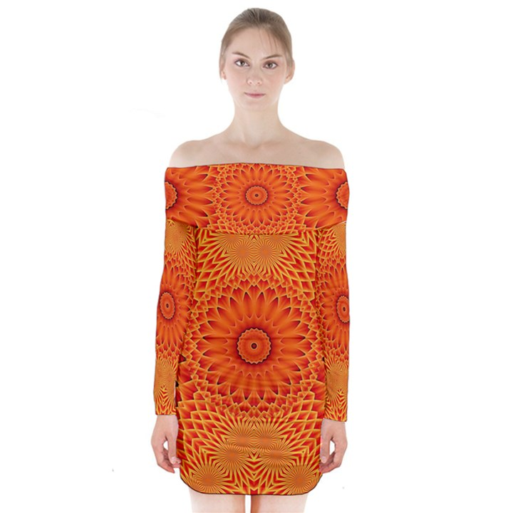 Lotus Fractal Flower Orange Yellow Long Sleeve Off Shoulder Dress