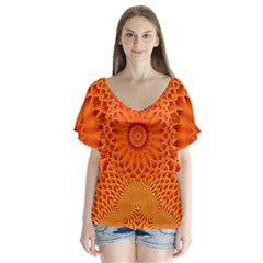Lotus Fractal Flower Orange Yellow Flutter Sleeve Top