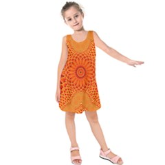 Lotus Fractal Flower Orange Yellow Kids  Sleeveless Dress