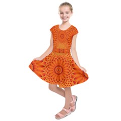 Lotus Fractal Flower Orange Yellow Kids  Short Sleeve Dress
