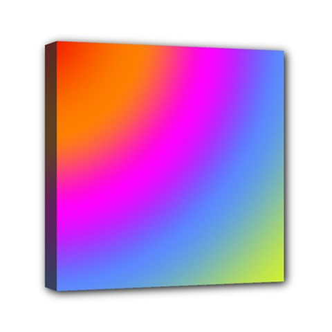 Radial Gradients Red Orange Pink Blue Green Mini Canvas 6  X 6