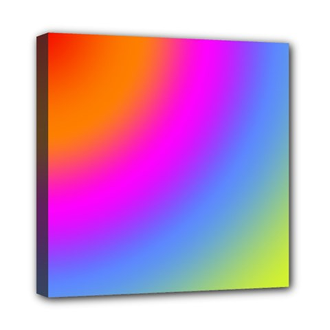 Radial Gradients Red Orange Pink Blue Green Mini Canvas 8  X 8