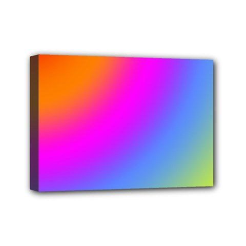 Radial Gradients Red Orange Pink Blue Green Mini Canvas 7  X 5