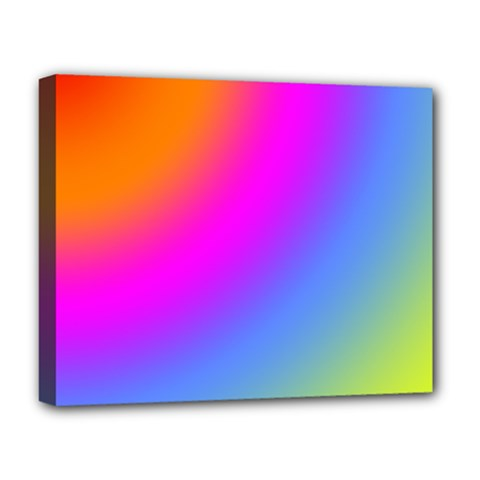 Radial Gradients Red Orange Pink Blue Green Deluxe Canvas 20  X 16