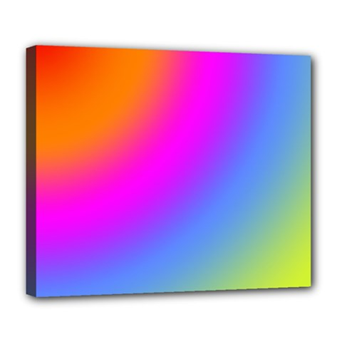 Radial Gradients Red Orange Pink Blue Green Deluxe Canvas 24  X 20