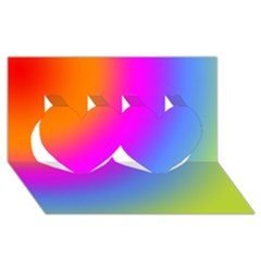 Radial Gradients Red Orange Pink Blue Green Twin Hearts 3d Greeting Card (8x4)