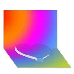 Radial Gradients Red Orange Pink Blue Green Heart Bottom 3d Greeting Card (7x5)