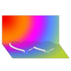 Radial Gradients Red Orange Pink Blue Green Twin Heart Bottom 3d Greeting Card (8x4)