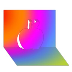 Radial Gradients Red Orange Pink Blue Green Apple 3d Greeting Card (7x5)