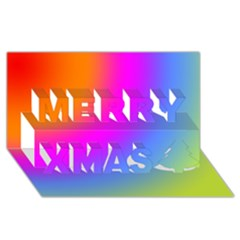 Radial Gradients Red Orange Pink Blue Green Merry Xmas 3d Greeting Card (8x4)