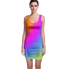 Radial Gradients Red Orange Pink Blue Green Sleeveless Bodycon Dress