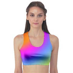 Radial Gradients Red Orange Pink Blue Green Sports Bra