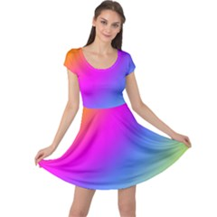 Radial Gradients Red Orange Pink Blue Green Cap Sleeve Dresses