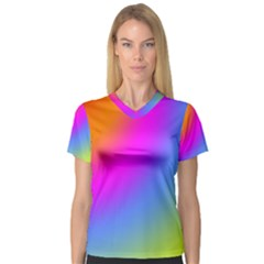 Radial Gradients Red Orange Pink Blue Green Women s V Neck Sport Mesh Tee