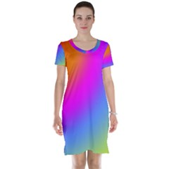 Radial Gradients Red Orange Pink Blue Green Short Sleeve Nightdress