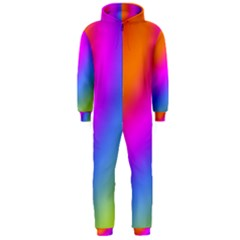Radial Gradients Red Orange Pink Blue Green Hooded Jumpsuit (men)