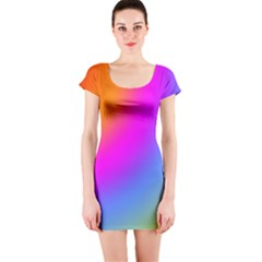 Radial Gradients Red Orange Pink Blue Green Short Sleeve Bodycon Dress