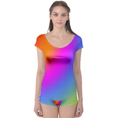 Radial Gradients Red Orange Pink Blue Green Boyleg Leotard