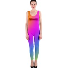 Radial Gradients Red Orange Pink Blue Green Onepiece Catsuit