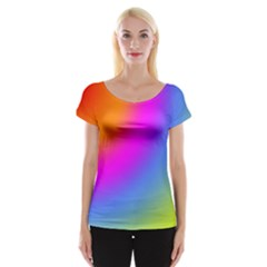 Radial Gradients Red Orange Pink Blue Green Women s Cap Sleeve Top