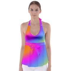 Radial Gradients Red Orange Pink Blue Green Babydoll Tankini Top