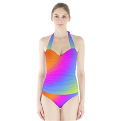Radial Gradients Red Orange Pink Blue Green Halter Swimsuit