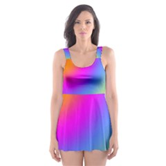Radial Gradients Red Orange Pink Blue Green Skater Dress Swimsuit
