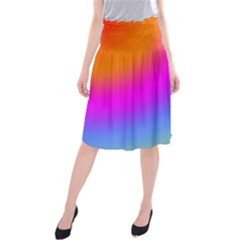 Radial Gradients Red Orange Pink Blue Green Midi Beach Skirt