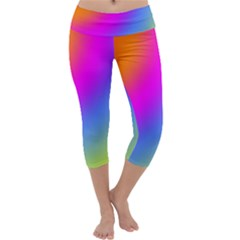 Radial Gradients Red Orange Pink Blue Green Capri Yoga Leggings