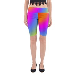 Radial Gradients Red Orange Pink Blue Green Yoga Cropped Leggings