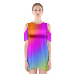 Radial Gradients Red Orange Pink Blue Green Cutout Shoulder Dress