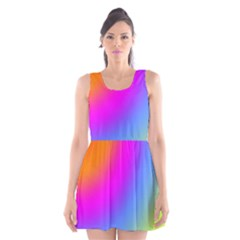Radial Gradients Red Orange Pink Blue Green Scoop Neck Skater Dress