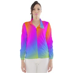Radial Gradients Red Orange Pink Blue Green Wind Breaker (women)