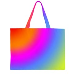 Radial Gradients Red Orange Pink Blue Green Zipper Large Tote Bag